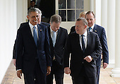 United States President Barack Obama (L) talks with Denmark Prime Minister Lars Lokke Rasmussen as they and other Nordic leaders walk along the White House Colonnade to the Oval Office during the State Visit in Washington, D.C. on May 13, 2016.  Other Nordic leaders are second row Finland President Sauli Niinisto and Sweden Prime Minister Stefan Lofven (R), third row Iceland Prime Minister Sigurdur Ingi Johannsson and Norway Prime Minister Erna Solberg (R).<br /> Credit: Pat Benic / Pool via CNP