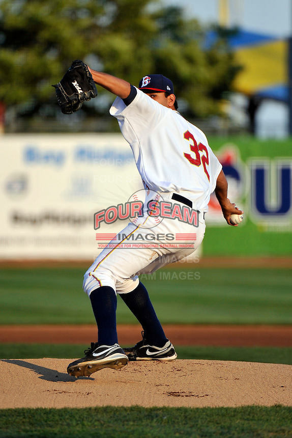 Brooklyn Cyclones pitcher Marco Camarena (32) during game against the Auburn Doubledays at MCU Park in Brooklyn, NY July 13, 2011. Doubledays won 9-3.  Photo By Tomasso DeRosa/ Four Seam Images