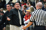 Douglas basketball Head Coach Corey Thacker talks to the referee during a boys basketball game between Bishop Manogue and Douglas High in Minden, Nev., on Thursday, Dec. 22, 2011..Photo by Cathleen Allison