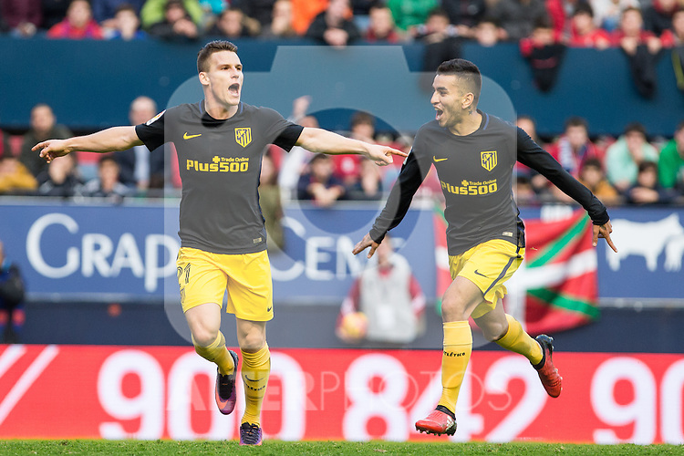Atletico de Madrid's Kevin Gameiro, Angel Correa, Antoine Griezmann during the match of La Liga, between Club Altetico Osasuna and Atletico de Madrid at Sadar Stadium, Pamplona , Spain. November 27, 2016. (ALTERPHOTOS/Rodrigo Jimenez)