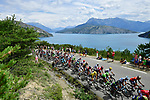 The peloton in action during Stage 19 of the 104th edition of the Tour de France 2017, running 222.5km from Embrun to Salon-de-Provence, France. 21st July 2017.<br /> Picture: ASO/Alex Broadway | Cyclefile<br /> <br /> <br /> All photos usage must carry mandatory copyright credit (&copy; Cyclefile | ASO/Alex Broadway)