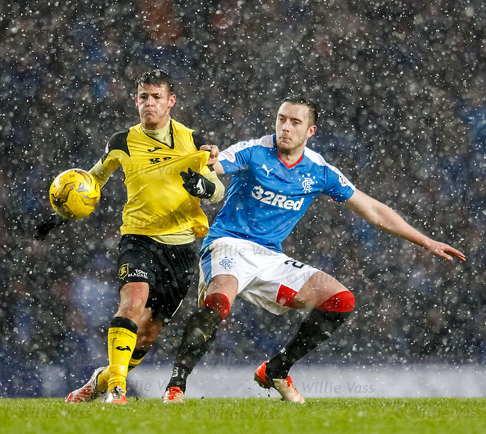 Danny Wilson of Rangers with Danny Mullen of Livi