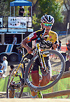 October 17, 2015 - Boulder, Colorado, U.S. - Elite cyclist, Meredith Miller, reaches the top of a difficult run-up during the U.S. Open of Cyclocross, Valmont Bike Park, Boulder, Colorado.