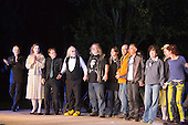 "14 July 2013, Mülheim-Ruhr, Germany. ""Pictured: Cast and crew at curtain call. Es geht immer besser, besser - immer besser ... by Ödön von Horváth directed by Roberto Ciulli for Theater an der Ruhr during the Weisse Nächte 2013 season, a series of free open-air performances at Raffelbergpark in Mülheim an der Ruhr, Germany."