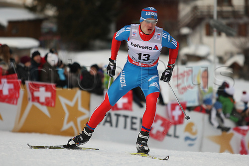 01.01.2013 Val Mustair, Switzerland. Andrey Legkov (RUS) in action at the sprints finals of the Cross Country Ski World Cup -  Tour de ski - Val Mustair - Switzerland - 1.4 km Free sprint ladies