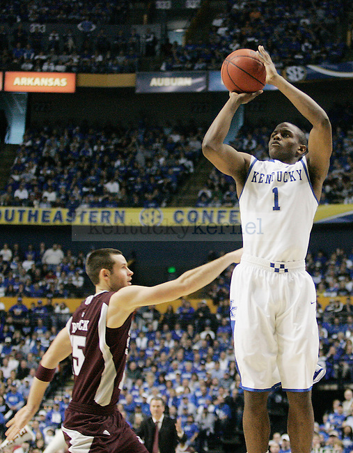 Sophomore guard Darius Miller takes a shot in the second half of UK's win 75-74 over Mississippi State  Bridgestone Arena in the SEC Finals on Sunday, March 14, 2010. Photo by Britney McIntosh | Staff
