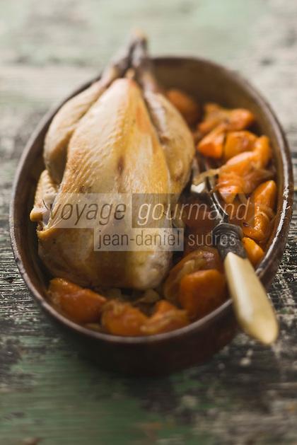 Europe/France/Rhône-Alpes/26/Drôme: Pintadeau de la Drome aux oignons et abricots