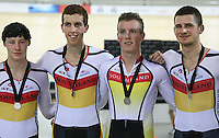 Southland's Josh Haggerty, Hamish Tomlinson and Cameron Karwowski at the BikeNZ Elite & U19 Track National Championships, Avantidrome, Home of Cycling, Cambridge, New Zealand, Sunday, March 16, 2014. Credit: Dianne Manson