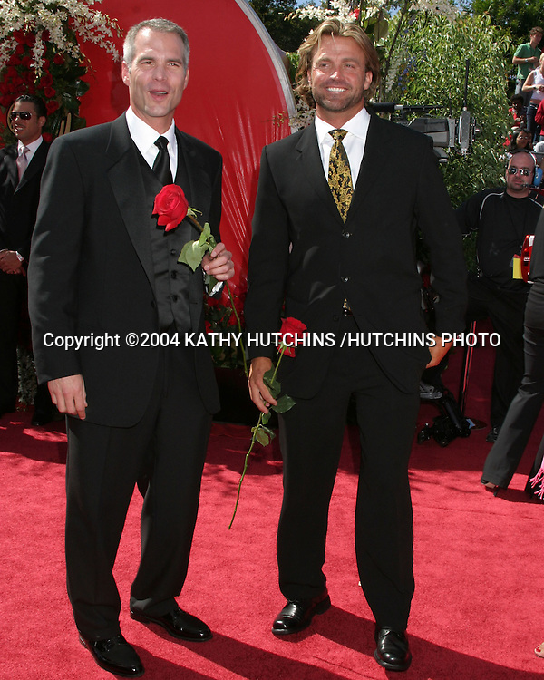 "©2004 KATHY HUTCHINS /HUTCHINS PHOTO.56TH PRIMETIME EMMY'S.SHRINE AUDITORIUM.LOS ANGELES, CA.SEPTEMBER 19, 2004..JAY OVERBYE AND BYRON VELVICK. "" THE BACHELOR"""