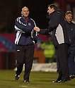 20/11/2004  Copyright Pic : James Stewart.File Name : jspa29_dundee_v_hibs.JIM DUFFY CAN'T BEAR TO LOOK AT TONY MOWBURY AT THE END OF THE GAME.......Payments to :.James Stewart Photo Agency 19 Carronlea Drive, Falkirk. FK2 8DN      Vat Reg No. 607 6932 25.Office     : +44 (0)1324 570906     .Mobile   : +44 (0)7721 416997.Fax         : +44 (0)1324 570906.E-mail  :  jim@jspa.co.uk.If you require further information then contact Jim Stewart on any of the numbers above.........