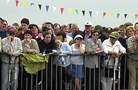 Jeanie Johnston 7-5-00.A large crowd watch Her Excellency President Mary McAleece officially name the  Jeanie Johnston replica famine ship which is  moored at Fenit Pier in County Kerry yesterday..Picture by Don MacMonagle