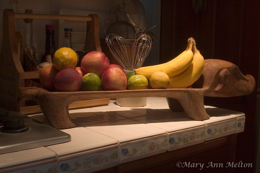 Fruit on a decorative fruit stand in a California kitchen