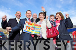 Winner of the Kerry's Eye, Stein Travel.ie €3,000 Holiday is Anna Keogh from Lisavigeen, Killarney being presented with her prize by David Slattery, Stein Travel.ie and Brendan Kennelly, Kerry's Eye. Also in photo is Annas Husband Edward, Daughter Caroline McCarthy and Grandaughter Roisin McCarthy.