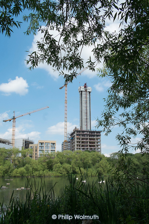 Construction of new housing on West Hendon Estate, overlooking Brent Reservoir. Tenants and leaseholders in 680 properties are being moved out to make way for a 2000 home development by Barratts and Barnet Council, only 200 of which will be social housing.