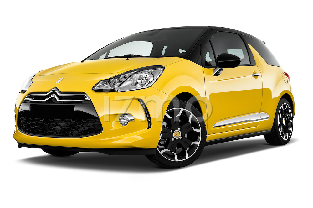 Low aggressive front three quarter view of a 2013 Citroen DS3 Sport Chic 3 Door Hatchback 2WD