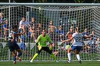 Kansas City, MO - Sunday August 28, 2016: Nicole Barnhart, Stephanie Verdoia during a regular season National Women's Soccer League (NWSL) match between FC Kansas City and the Boston Breakers at Swope Soccer Village.