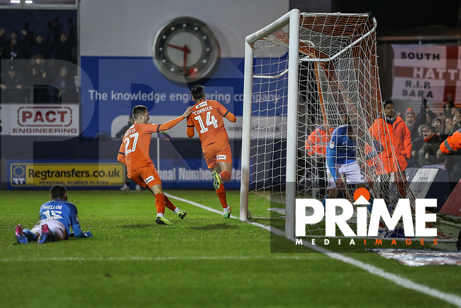 Harry Cornick of Luton Town (14) celebrates after he scores his team's fourth goal during the Sky Bet League 1 match between Luton Town and Bradford City at Kenilworth Road, Luton, England on 27 November 2018. Photo by David Horn.