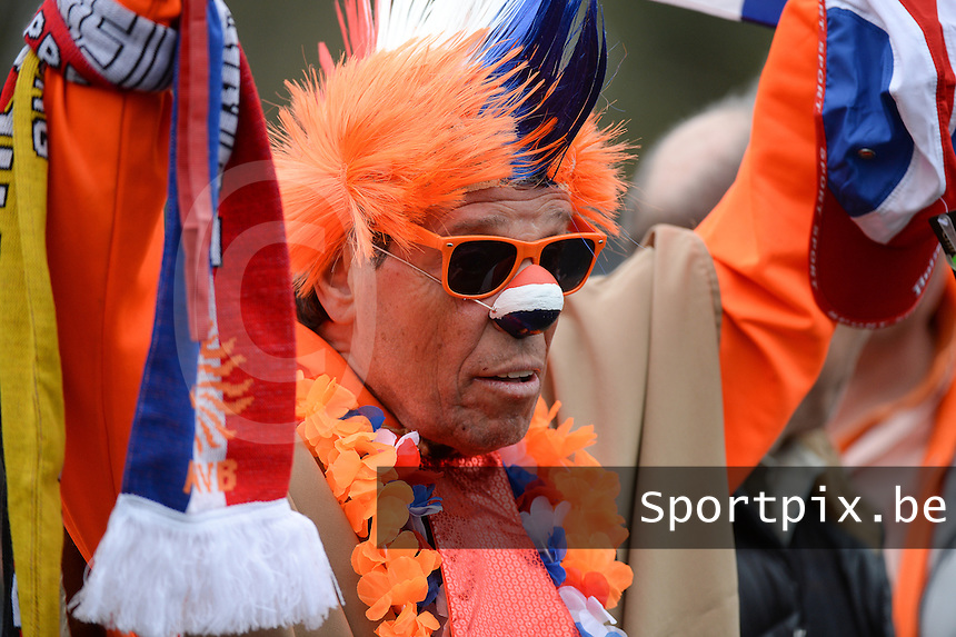 20160324 - Buderich , GERMANY : Dutch fan pictured during the soccer match between the under 17 teams of The Netherlands and Bulgaria , on the first matchday in group 4 of the UEFA Under17 Elite rounds in Buderich , Germany. Thursday 24th March 2016 . PHOTO DAVID CATRY