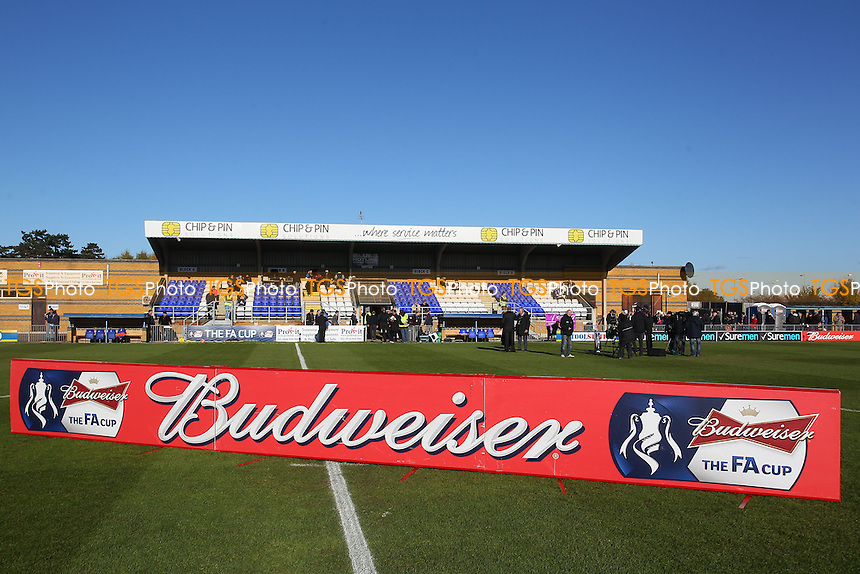 General view of the main stand and Budweiser hoarding ahead of the match - Bishop's Stortford vs Northampton Town - FA Challenge Cup 1st Round Proper Round Football at the Profit UK Stadium, Bishop's Stortford - 10/11/13 - MANDATORY CREDIT: Gavin Ellis/TGSPHOTO - Self billing applies where appropriate - 0845 094 6026 - contact@tgsphoto.co.uk - NO UNPAID USE