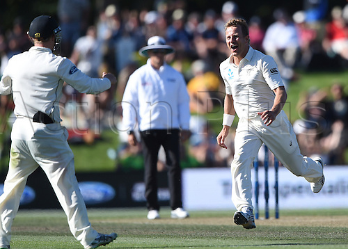 21.02.2016. Christchurch New Zealand.  Neil Wagner celebrates taking the wicket of Smith late on Day 2 of the 2nd test match. New Zealand Black Caps versus Australia. Hagley Oval in Christchurch, New Zealand. Sunday 21 February 2016.