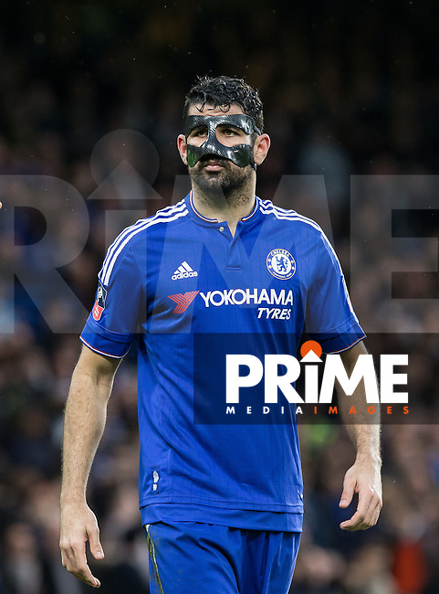 Diego Costa of Chelsea during the FA Cup 5th round match between Chelsea and Manchester City at Stamford Bridge, London, England on 21 February 2016. Photo by Andy Rowland.