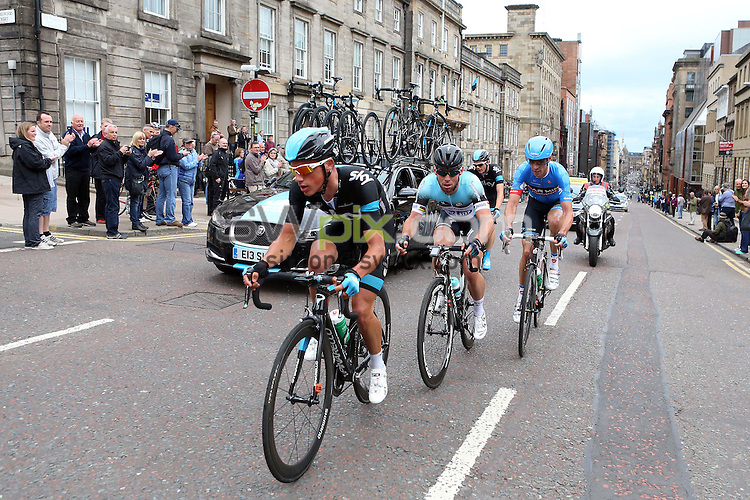 PICTURE BY VAUGHN RIDLEY/SWPIX.COM - Cycling - 2013 British Cycling National Road Race Championships - Glasgow, Scotland - 23/06/13 - Peter Kennaugh of Team Sky leads Mark Cavendish of Omega Pharma Quickstep and David Millar of Garmin-Sharp up St Vincent Street.