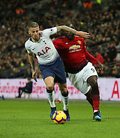 Tottenham Hotspur's Toby Alderweireld and Manchester United's Romelu Lukaku<br /> <br /> Photographer Rob Newell/CameraSport<br /> <br /> The Premier League - Tottenham Hotspur v Manchester United - Sunday 13th January 2019 - Wembley Stadium - London<br /> <br /> World Copyright &copy; 2019 CameraSport. All rights reserved. 43 Linden Ave. Countesthorpe. Leicester. England. LE8 5PG - Tel: +44 (0) 116 277 4147 - admin@camerasport.com - www.camerasport.com