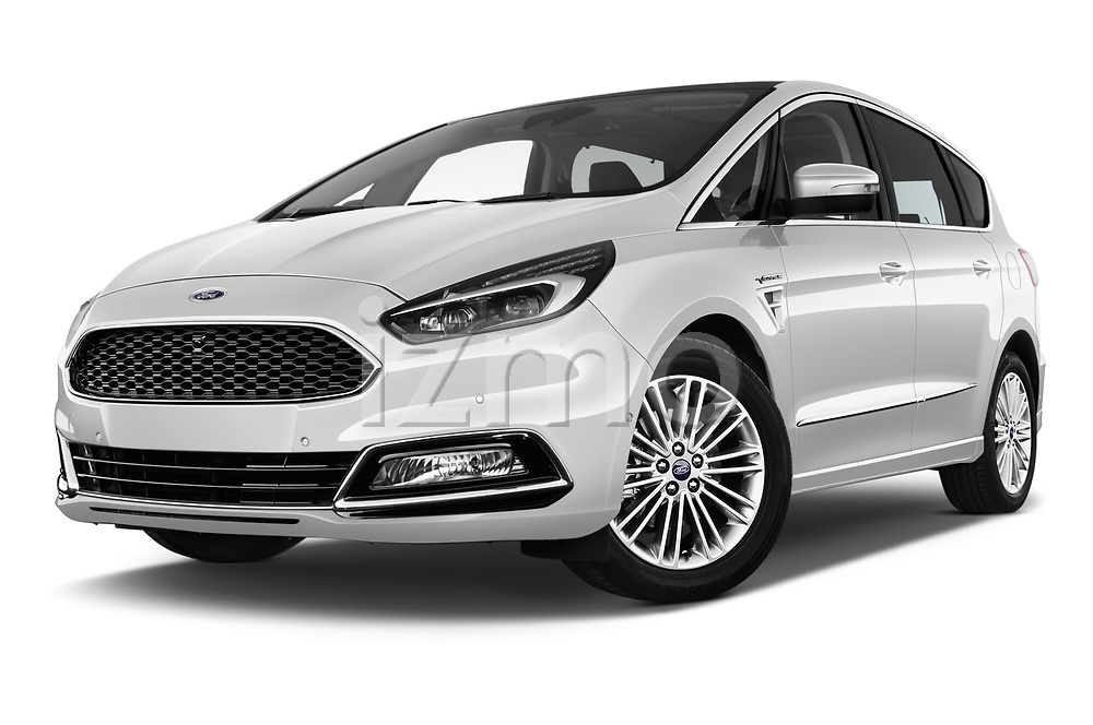 Stock pictures of low aggressive front three quarter view of a 2018 Ford S-Max Vignale Base 5 Door Mini Van