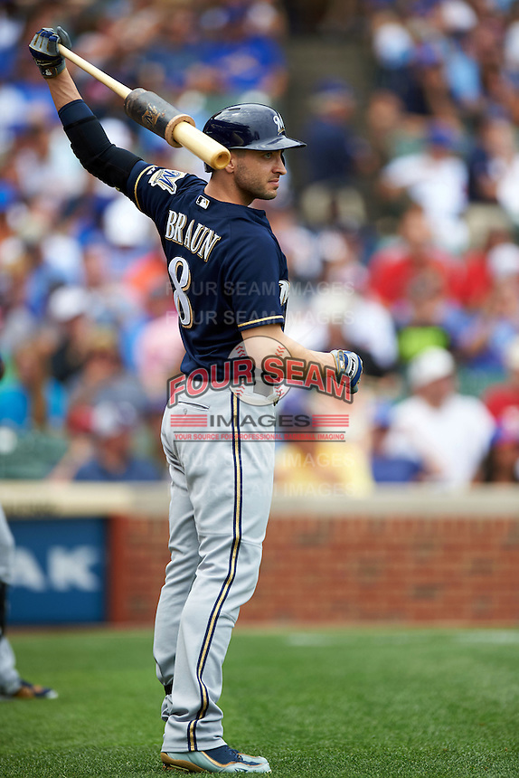 Milwaukee Brewers outfielder Ryan Braun (8) on deck during a game against the Chicago Cubs on August 13, 2015 at Wrigley Field in Chicago, Illinois.  Chicago defeated Milwaukee 9-2.  (Mike Janes/Four Seam Images)