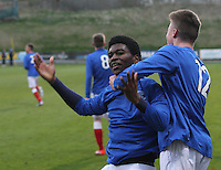 Junior Ogen being congratulated by Adam Wilson after scoring his second goal in the Celtic v Rangers City of Glasgow Cup Final match played at Firhill Stadium, Glasgow on 29.4.13,  organised by the Glasgow Football Association and sponsored by City Refrigeration Holdings Ltd.