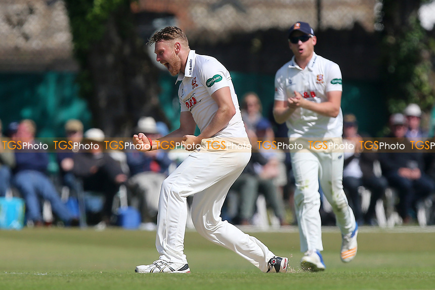 Jamie Porter of Essex celebrates taking the wicket of Rory Burns during Surrey CCC vs Essex CCC, Specsavers County Championship Division 1 Cricket at Guildford CC, The Sports Ground on 11th June 2017