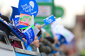 8th September 2017, Newmarket, England; OVO Energy Tour of Britain Cycling; Stage 6, Newmarket to Aldeburgh; School children made  their own flags for the tour