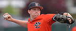 Edwardsville pitcher Matthew Boyer threw a complete game against Belleville West. Edwardsville defeated Belleville West in a semifinal of the Class 4A Bloomington boys baseball sectional which was played in O'Fallon, IL on Wednesday May 29, 2019.<br />