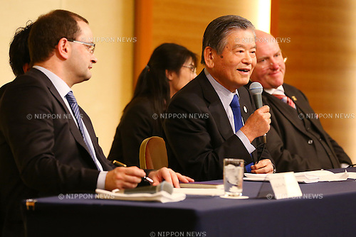(L-R) FIBA Patrick Baumann, JAPAN 2024 TASK FORCE Saburo Kawabuchi, JAPAN 2024 TASK FORCE Ingo Weiss,<br /> JANUARY 28, 2015 - Basketball : JAPAN 2024 TASK FORCE holds a Press conference at Grand Prince Hotel New Takanawa, Tokyo, Japan. This group has been created with a long term 10 year goal of improving basketball in Japan and the short term aim of releasing Japan from FIBA's sanctions. (Photo by Shingo Ito/AFLO SPORT)