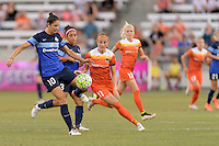 Houston, TX - Sunday June 19, 2016: Yael Averbuch, Janine Beckie during a regular season National Women's Soccer League (NWSL) match between the Houston Dash and FC Kansas City at BBVA Compass Stadium.