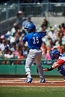 Rancho Cucamonga Quakes third baseman Rylan Bannon (25) at bat during a California League game against the Stockton Ports at Banner Island Ballpark on May 17, 2018 in Stockton, California. Stockton defeated Rancho Cucamonga 2-1. (Zachary Lucy/Four Seam Images)