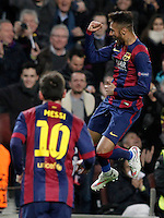 FC Barcelona's Neymar Jr (r) and Leo Messi celebrate goal during Champions League 2014/2015 match.December 10,2014. (ALTERPHOTOS/Acero) /NortePhoto