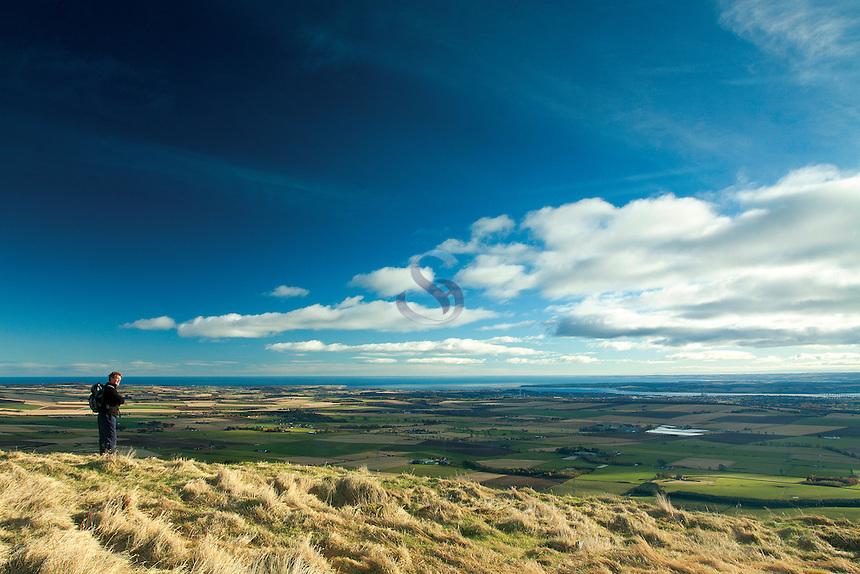 The Tay Estuary from Craigowl, The Sidlaws near Dundee, Tayside
