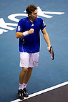BANGKOK, THAILAND - OCTOBER 01:  Ernets Gulbis of Latvia celebrates a point to Guillermo Garcia-Lopez of Spain during the Day 7 of the PTT Thailand Open at Impact Arena on October 1, 2010 in Bangkok, Thailand. Photo by Victor Fraile / The Power of Sport Images