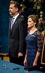 Kings of Spain Felipe VI and Letizia Ortiz at Campoamor Theater in Oviedo to deliver the Prince of Asturias Awards 2014. 2014/10/24 Samuel de Roman / Photocall3000