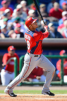 Washington Nationals infielder Carlso Rivero #19 during a Spring Training game against the Philadelphia Phillies at Bright House Field on March 6, 2013 in Clearwater, Florida.  Philadelphia defeated Washington 6-3.  (Mike Janes/Four Seam Images)