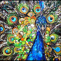 BNPS.co.uk (01202 558833)<br /> Pic: Bluebowerbird/BNPS<br /> <br /> Vibrant Peacock.<br /> <br /> PopArt - Artist Jane Perkins recreates famous people and paintings from recycled plastic rubbish.<br /> <br /> Her stunning 'Plastic Classics' generate the most interest and sell for thousands of pounds.<br /> <br /> She has created rubbish replica's of famous paiintings by Van Gogh's, Monet, Raphael, Gustav Klimt, Salvi and Frida Kahlo as well as Japanese artist Katsushika Hokusai's the Great Wave of Kanagawa.<br /> <br /> She also creates pictures of animals for private commissions. For example, a stunning work of a tiger's head is made up of objects like plastic toy animals, golf tees and beads.<br /> <br /> Jane, a former hospital nurse from Kenton, near Exeter, Devon, now sells her work for up to &pound;2,500 a go.<br /> <br /> She said: &quot;I go to car boot sales and buy anything that is plastic, mostly toys and bits of broken jewellery, anything small. The neighbours often give me bags of bits and pieces they no longer want. <br /> <br /> &quot;People love them because they can see the whole image but also see what is in it. They can find things in them that they recognise, like little bits from their childhood.