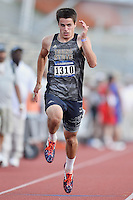 Cody Schulz of Texas State competes in 100 meter prelims during West Preliminary Track and Field Championships, Friday, May 29, 2015 in Austin, Tex. (Mo Khursheed/TFV Media via AP Images)