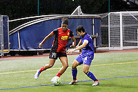 Buffalo, NY - Saturday Sept. 17, 2016: Jessica McDonald, Duangnapa Sritala during a friendly international match between the Western New York Flash and the Women's National Team of Thailand at Demske Sports Complex at Canisius College.