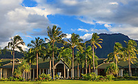 The entrance to the St. Regis Princeville Resort, with mountains in the distance, Kaua'i.