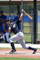 GCL Yankees 2 shortstop Angel Aguilar (2) at bat during a game against the GCL Blue Jays on July 2, 2014 at the Bobby Mattick Complex in Dunedin, Florida.  GCL Yankees 2 defeated GCL Blue Jays 9-6.  (Mike Janes/Four Seam Images)