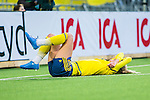 ****BETALBILD**** <br /> Stockholm 2015-04-08 Fotboll Landskamp Damer , Sverige - Danmark :  <br /> Sveriges Sofia Jakobsson har skadat sig och dr&ouml;jer sig kvar p&aring; planen under matchen mellan Sverige och Danmark <br /> (Photo: Kenta J&ouml;nsson) Keywords:  Sweden Sverige Denmark Danmark Landskamp Dam Damer Tele2 Arena Stockholm skada skadan ont sm&auml;rta injury pain depp besviken besvikelse sorg ledsen deppig nedst&auml;md uppgiven sad disappointment disappointed dejected