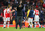 Arsenal's head coach Mikel Arteta celebrates after his team win the Premier League match at the Emirates Stadium, London. Picture date: 7th March 2020. Picture credit should read: Paul Terry/Sportimage