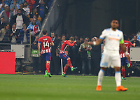 16th May 2018, Stade de Lyon, Lyon, France; Europa League football final, Marseille versus Atletico Madrid; Antoine Griezmann of Atletico Madrid celebrates after scoring his sides 1st goal in the 20th minute to make it 0-1