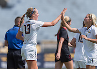 BERKELEY, CA - August 29, 2015: The Cal Bears Women's Soccer team vs the San Diego State Aztecs at Edwards Stadium in Berkeley, California. Final score, Cal Bears 2, San Diego State 0.